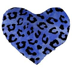 Skin5 Black Marble & Blue Watercolor Large 19  Premium Heart Shape Cushion by trendistuff