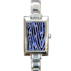 Skin4 Black Marble & Blue Watercolor Rectangle Italian Charm Watch by trendistuff