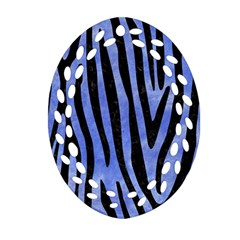 Skin4 Black Marble & Blue Watercolor Ornament (oval Filigree) by trendistuff