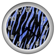 Skin3 Black Marble & Blue Watercolor Wall Clock (silver) by trendistuff