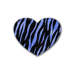 Skin3 Black Marble & Blue Watercolor Rubber Coaster (heart) by trendistuff