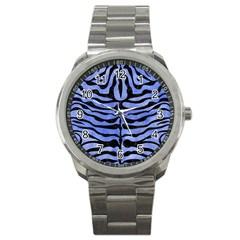 Skin2 Black Marble & Blue Watercolor (r) Sport Metal Watch by trendistuff