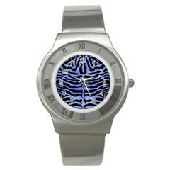 Skin2 Black Marble & Blue Watercolor Stainless Steel Watch by trendistuff