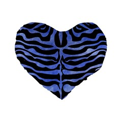 Skin2 Black Marble & Blue Watercolor Standard 16  Premium Heart Shape Cushion  by trendistuff