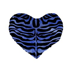 Skin2 Black Marble & Blue Watercolor Standard 16  Premium Flano Heart Shape Cushion  by trendistuff