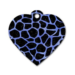 Skin1 Black Marble & Blue Watercolor (r) Dog Tag Heart (two Sides) by trendistuff