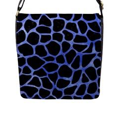 Skin1 Black Marble & Blue Watercolor (r) Flap Closure Messenger Bag (l) by trendistuff