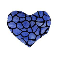 Skin1 Black Marble & Blue Watercolor Standard 16  Premium Flano Heart Shape Cushion  by trendistuff