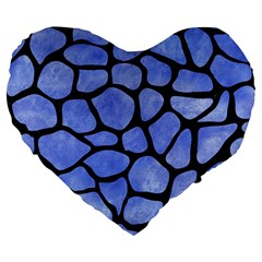 Skin1 Black Marble & Blue Watercolor Large 19  Premium Flano Heart Shape Cushion by trendistuff