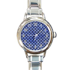 Scales3 Black Marble & Blue Watercolor (r) Round Italian Charm Watch by trendistuff