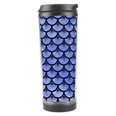 Scales3 Black Marble & Blue Watercolor (r) Travel Tumbler by trendistuff
