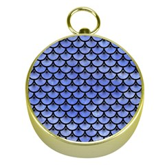 Scales3 Black Marble & Blue Watercolor (r) Gold Compass by trendistuff