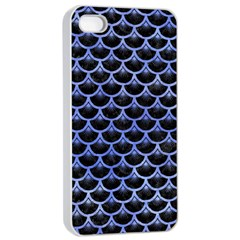 Scales3 Black Marble & Blue Watercolor Apple Iphone 4/4s Seamless Case (white) by trendistuff