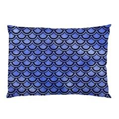 Scales2 Black Marble & Blue Watercolor (r) Pillow Case by trendistuff