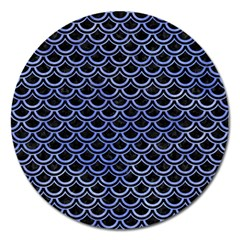 Scales2 Black Marble & Blue Watercolor Magnet 5  (round) by trendistuff