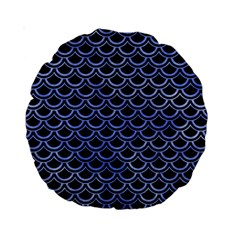 Scales2 Black Marble & Blue Watercolor Standard 15  Premium Round Cushion  by trendistuff