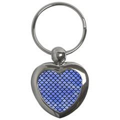 Scales1 Black Marble & Blue Watercolor (r) Key Chain (heart) by trendistuff