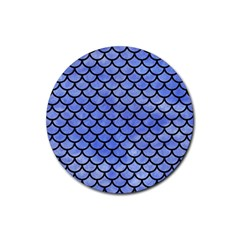 Scales1 Black Marble & Blue Watercolor (r) Rubber Round Coaster (4 Pack) by trendistuff