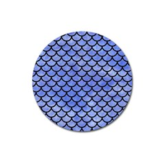 Scales1 Black Marble & Blue Watercolor (r) Magnet 3  (round) by trendistuff