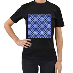 Scales1 Black Marble & Blue Watercolor (r) Women s T Shirt (black) (two Sided) by trendistuff