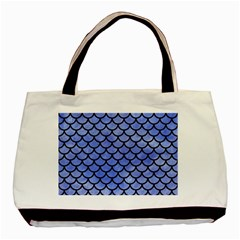 Scales1 Black Marble & Blue Watercolor (r) Basic Tote Bag (two Sides) by trendistuff