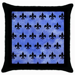 Royal1 Black Marble & Blue Watercolor Throw Pillow Case (black) by trendistuff