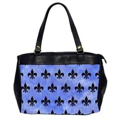 Royal1 Black Marble & Blue Watercolor Oversize Office Handbag (2 Sides) by trendistuff