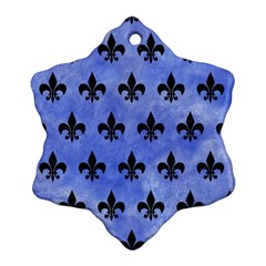 Royal1 Black Marble & Blue Watercolor Snowflake Ornament (two Sides) by trendistuff