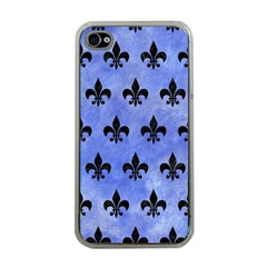 Royal1 Black Marble & Blue Watercolor Apple Iphone 4 Case (clear) by trendistuff