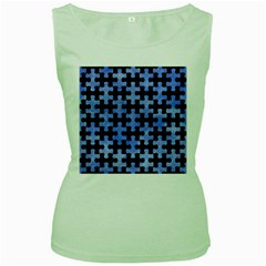 Puzzle1 Black Marble & Blue Watercolor Women s Green Tank Top by trendistuff