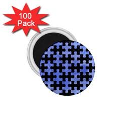 Puzzle1 Black Marble & Blue Watercolor 1 75  Magnet (100 Pack)  by trendistuff