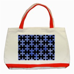 Puzzle1 Black Marble & Blue Watercolor Classic Tote Bag (red) by trendistuff