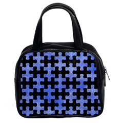 Puzzle1 Black Marble & Blue Watercolor Classic Handbag (two Sides) by trendistuff