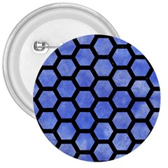 Hexagon2 Black Marble & Blue Watercolor (r) 3  Button by trendistuff