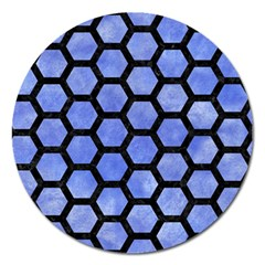 Hexagon2 Black Marble & Blue Watercolor (r) Magnet 5  (round) by trendistuff