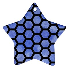 Hexagon2 Black Marble & Blue Watercolor (r) Star Ornament (two Sides) by trendistuff