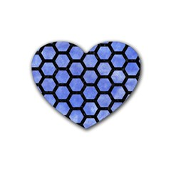 Hexagon2 Black Marble & Blue Watercolor (r) Rubber Heart Coaster (4 Pack) by trendistuff