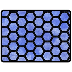Hexagon2 Black Marble & Blue Watercolor (r) Double Sided Fleece Blanket (large) by trendistuff
