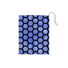 Hexagon2 Black Marble & Blue Watercolor (r) Drawstring Pouch (small) by trendistuff