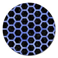 Hexagon2 Black Marble & Blue Watercolor Magnet 5  (round) by trendistuff