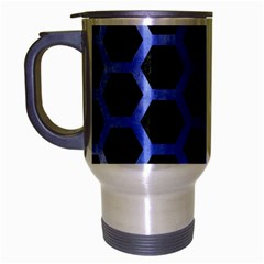 Hexagon2 Black Marble & Blue Watercolor Travel Mug (silver Gray) by trendistuff