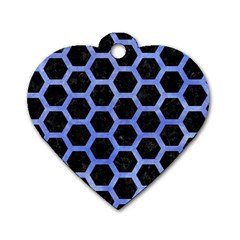 Hexagon2 Black Marble & Blue Watercolor Dog Tag Heart (one Side) by trendistuff