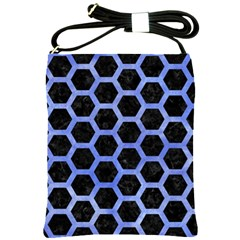 Hexagon2 Black Marble & Blue Watercolor Shoulder Sling Bag by trendistuff