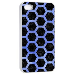 Hexagon2 Black Marble & Blue Watercolor Apple Iphone 4/4s Seamless Case (white) by trendistuff