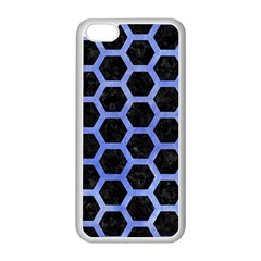 Hexagon2 Black Marble & Blue Watercolor Apple Iphone 5c Seamless Case (white) by trendistuff