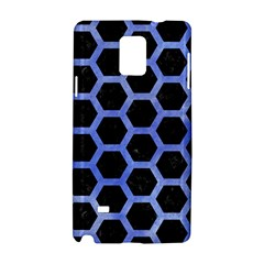Hexagon2 Black Marble & Blue Watercolor Samsung Galaxy Note 4 Hardshell Case