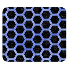 Hexagon2 Black Marble & Blue Watercolor Double Sided Flano Blanket (small) by trendistuff
