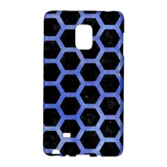 Hexagon2 Black Marble & Blue Watercolor Samsung Galaxy Note Edge Hardshell Case by trendistuff