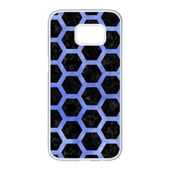 Hexagon2 Black Marble & Blue Watercolor Samsung Galaxy S7 Edge White Seamless Case by trendistuff
