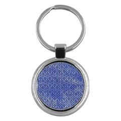 Hexagon1 Black Marble & Blue Watercolor (r) Key Chain (round) by trendistuff